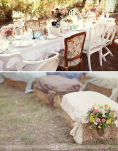 This shabby design could be used for a wedding or an elegant gathering. A mixed table setting using a variety of different plates,utensils, chairs and Fabrics along with bales of hay covered in a padding the topped off with a simple drape of fabric secured on each side can make for great conversation.