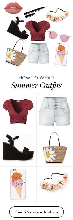 Summer Outfit by sophielouise557 on Polyvore featuring LE3NO, Nly Shoes, Kate Spade, Oliver Peoples, Lime Crime and Marc Jacobs