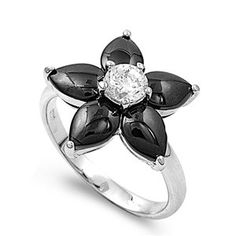Kathleen's 2CT Plumeria Flower Brilliant Black Cubic Zirconia Ring