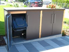 Even a garbage bin can be designed attractively. Litter bins made of local larch and HPL boards. Patio Storage, Bike Storage, Storage Bins, Storage Spaces, Garbage Storage, Bin Store, Carport Designs, Bike Shed, Backyard Garden Design