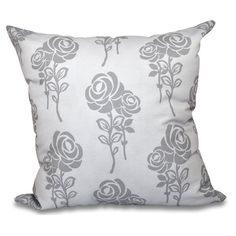 E by Design Botanical Blooms Carmen Decorative Pillow Gray - PFN500GY1GY2-20