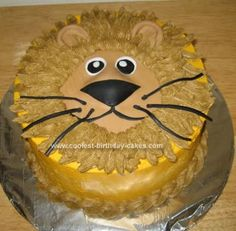Homemade Lion Birthday Cake: Well, I submitted another cake on this great website, so I decided to put up another one.  I made this Lion Birthday Cake for my sister.  She said she