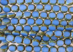 10x9mm Opaque Blue Picasso Edged Table Cut Czech Glass Oval Beads - Qty 20 (BS188) by beadsandbabble on Etsy