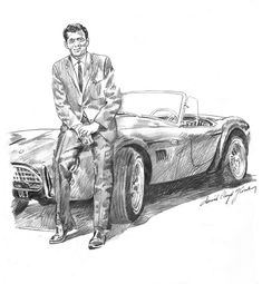 A pencil drawing of the late Carroll Shelby posing with the very first AC Shelby Cobra.  By David Lloyd Glover