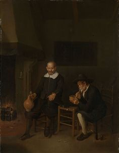 Quiringh Gerritsz. van Brekelenkam (fl. 1648–1669) 	Interior with a smoking and a drinking man by a fire. 	1664