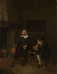 Quiringh Gerritsz. van Brekelenkam (fl. 1648–1669) Interior with a smoking and a drinking man by a fire. 1664