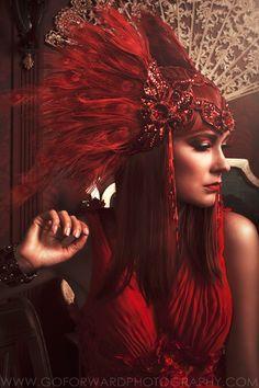 """La Vie En Rouge"" Photographer: Michael D. Ward of Go ForWard Photography; Makeup Artistry: Hannah Elvington; Model: Jana Kolarikova; Styling, Headpiece and Accessories: Peacock Blue Design Studio; Gowns: Angel"