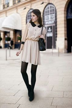 Cream Peter Pan Collared Dress, styled for winter with opaques and black pumps. Street Style.