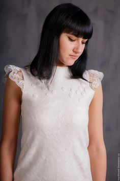 Купить Белое валяное платье - белый, платье, Платье нарядное, Платье белое