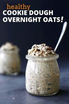 Chewy oats, protein rich chia seeds, and creamy cashew butter make these Healthy Cookie Dough Overnight Oats a breakfast worth waking up for! #vegan  #overnightoats #veganbreakfast Oatmeal Recipes, Vegan Breakfast Recipes, Snack Recipes, Healthy Breakfasts, Vegan Recipes, Healthy Desserts, Healthy Meals, Healthy Cookie Dough, Healthy Cookies