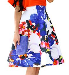 6e6dd3ca4a7f Women's A Line Floral High Waist Flared Casual Knee Length Pleated Skirt  (US 2, blue)