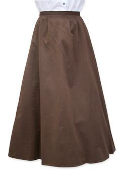 Cotton Twill Walking Skirt - Brown $64.95