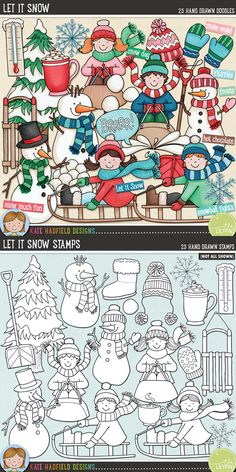 Winter snow digital scrapbooking elements | Cute snowman clip art | Hand-drawn illustrations for digital scrapbooking, crafting and teaching resources from Kate Hadfield Designs!