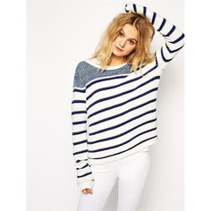 Blue White Round Neck Striped Knit Sweater (£12) ❤ liked on Polyvore featuring tops, sweaters, white, white knit sweater, white pullover sweater, blue pullover sweater, knit pullover sweater and loose sweater