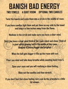 Banish Bad Energy Spell, Book of Shadows Page, BOS Pages, Witchcraft, Wicca Magick Spells, Wicca Witchcraft, Healing Spells, Hoodoo Spells, Magick Book, Candle Spells, Tarot, Banishing Spell, Book Of Shadows