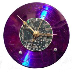 Purple CDComputer board clock by tEChLECTIC on Etsy, $35.00