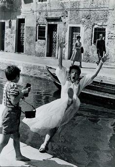 Katherine Hepburn falling into water in Summertime.