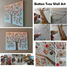 How to make button tree wall art diy diy crafts do it yourself diy projects wall art diy wall art button tree Cute Crafts, Crafts To Make, Crafts For Kids, Arts And Crafts, Diy Crafts, Decor Crafts, Button Tree Art, Button Wall Art, Art Diy