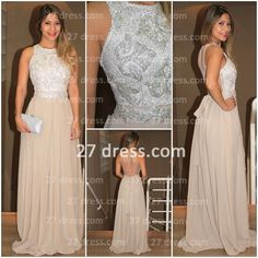 $167 27dress.com custom made 2014 Lindo Vestido Womens Evening Party Gowns High-Neck Sequins Beaded Chiffon Long Prom Dress