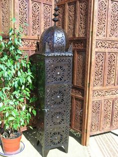Moroccan iron tower lantern, Size - tall, wide by deep. Whether you want to highlight features in your home or add a Moroccan flavour to your living spaces, this delightful Moroccan floor standing lamp is perfect! Moroccan Lamp, Floor Standing Lamps, Soft Furnishings, Lanterns, Perfume Bottles, Tower, Iron, Pottery, Courtyard Gardens