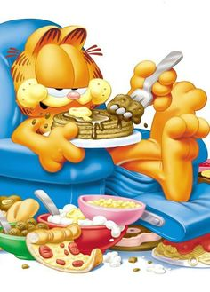 Garfield looks tells you; Can`t you see i am in a feeding frenzey from being staved ? Talk to me when i am done eatting.