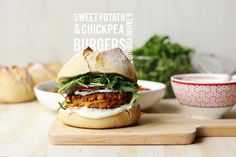 Sweet Potato and Chickpea Burgers with Tahini Yoghurt // The Sugar Hit