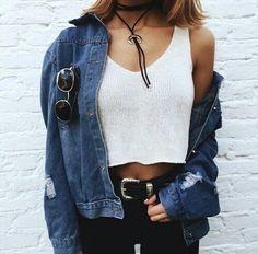 (J) jean jacket from gw or surplus —(T) blue cropped top got from manila — (B) black jeans — (A) black choker, black belt
