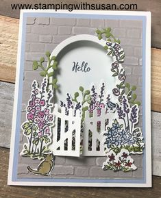 I love flower gardens, I just don't like to garden. So I am really enjoying Grace's Garden! I cased this card from the January - June Min. Slider Cards, Make Your Own Card, Stamping Up Cards, Folded Cards, Cool Cards, Greeting Cards Handmade, Homemade Cards, Making Ideas, Garden Gate