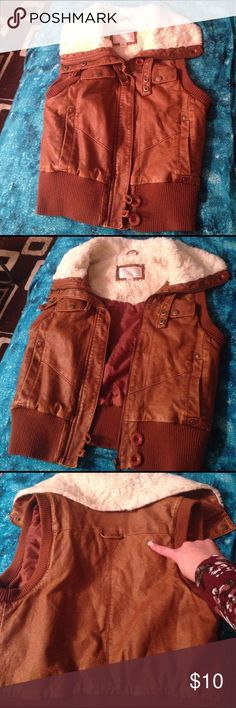 Xhilaration Faux leather vest with fake fur!💜 Tan fake leather and fake fur collar. Super cute! Xhilaration Tops