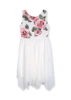 Amy Byer White Printed Lace Dress Girls 7-16