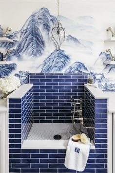 DeGournay Wallpaper Bathroom With Blue Bathroom Tile ideas laundry dog wash The Ultimate Designer Guide to Bathroom Tile De Gournay Wallpaper, Dog Washing Station, White Laundry Rooms, Laundry Room Inspiration, Dog Rooms, Dog Shower, Bathroom Wallpaper, Laundry Room Design, House Design