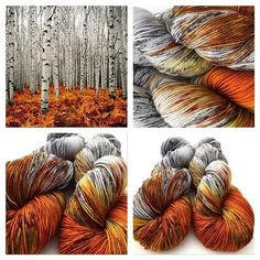 Birch and burnt gold tones for yarn: