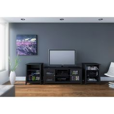 Megalak Finition Tuxedo 58 in. TV Console with Stereo Cabinets - Black - MFI546