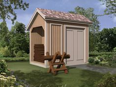 Ruralspring Log Storage Shed Front of Home from houseplansandmore.com