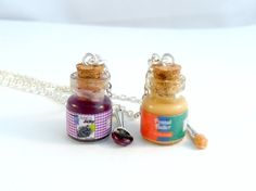 BFF Peanut Butter and Jelly Jar with Knife & Spoon Necklace Set, Best Friend's BFF Necklaces, Cute :D