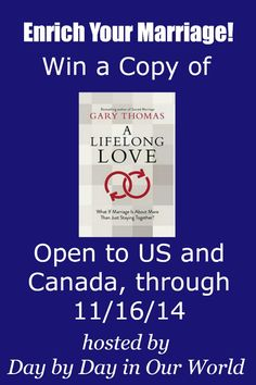 Blog post at Day By Day in Our World : I was honored to review the new book, A Lifelong Love by Gary Thomas here on the blog.  One lucky blog reader can win their own copy to e[..]