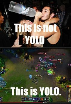 League of Legends YOLO! 😂 Gl man - maybe if you have hardcore Master Yi skills you could stand a chance,or perhaps and hole dozen turrets setup thanks o Hermerdinger 😉 Gamer Humor, Gaming Memes, Humor Humour, Lol League Of Legends, Memes Liga, League Memes, Trauma, Mobile Legends, Funny Games