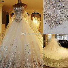 Wholesale Pnina Tornai Wedding Dresses - Buy Amazing 2014 Luxury Wedding Gowns Bride Dresses Crystals Cathedral Wedding Free Veil Free PETTICOAT 2014 Buy 1 Get 2, $247.15 | DHgate