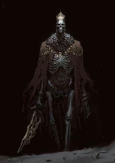 Undead King by Edward Delandre (High Lord Wolnir, Dark Souls Dark Fantasy, Fantasy Rpg, Medieval Fantasy, Dark Souls 3, Fantasy Monster, Monster Art, Skeleton Warrior, Skeleton Lords, Skeleton King