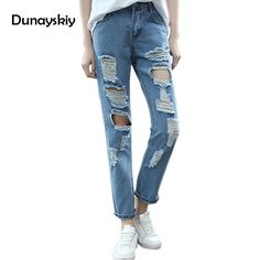 ac9c8c5b064a0 Boyfriend hole ripped jeans women pants Cool denim vintage straight jeans  for girl high waist casual