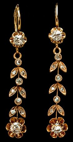Art Nouveau antique Russian gold and diamond earrings, 1908-1917.