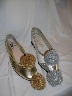 ballerina color oro, ballerina duilio color bianco ed argento con clip decorative : pon in lurex oro ed argento