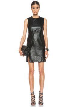 Thakoon|Basketweave Leather Panel Dress in Black