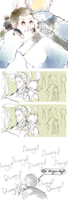 Careful Cap! His lil Bun-bun tail is sensitive