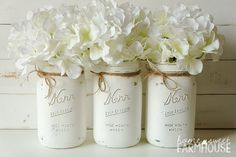 This set of three distressed mason jar vases will look stunning on your dining table, shelf, mantle, bathroom counter or wherever you like! Fill the jars with fresh flowers, silk flowers or any seasonal accents, even candles.  This rustic jar vase set would make a lovely Christmas gift or housewarming gift!  The wide mouth glass mason jars are painted with chalk paint, then distressed and sealed for water protection.  They come with a jute twine bow accent, flowers not included.  For more…