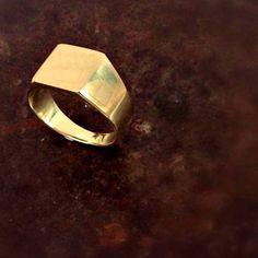 Gold signet ring Square signet ring Mens signet