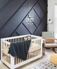 black and mustard yellow modern retro baby nursery - Chambre Bebe Fille -