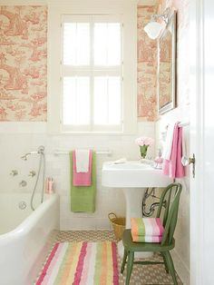 Little girl bathroom.  I  am SO doing this color combo in my mingthing's bathroom...OMG LOOK AT THE TINY TUB AND SINK!!