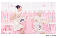 Louis Vuitton S/S 2012 ad campaign, featuring Daria Strokous and Kati Nescher. Shot by Steven Miesel. Marc Jacobs, you slay me.