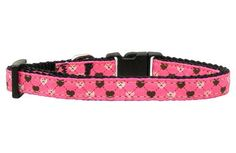 Mirage Pet Dog Cats Indoor Outdoor Training And Behavior Aids Accessories Argyle Hearts Nylon Ribbon Collar Bright Pink Small